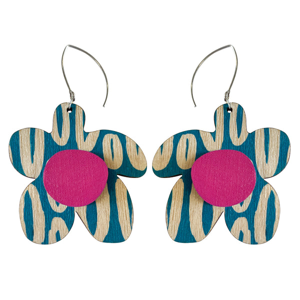 Blue Hoop pattern flower earrings