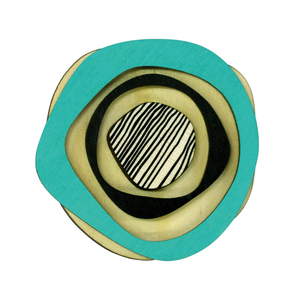 Retro wooden statement brooch in aqua