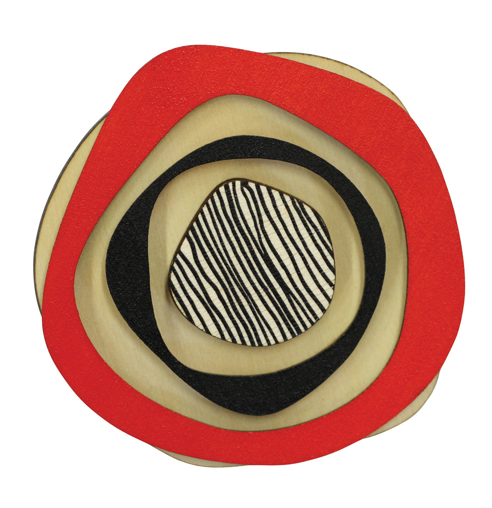 Retro wooden statement brooch in red