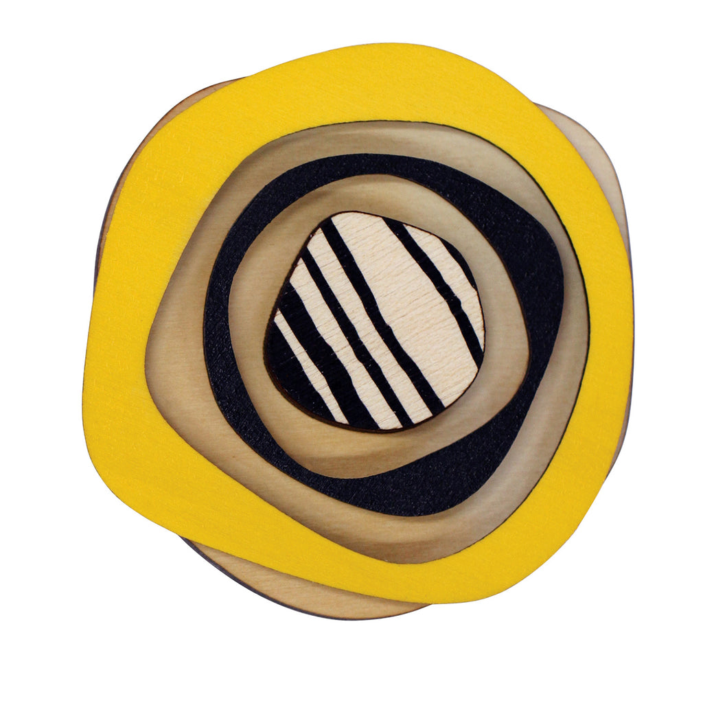 Retro wooden statement brooch in yellow