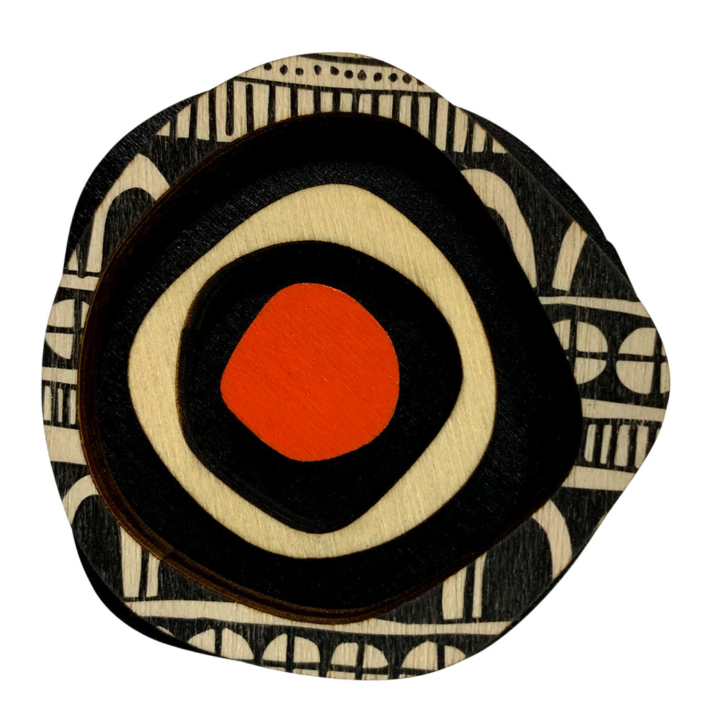 Doodle pattern wooden statement brooch with orange spot