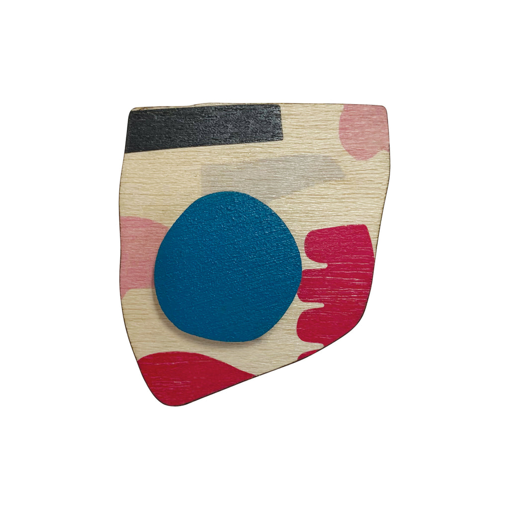 Abstract pattern wooden brooch with blue spot