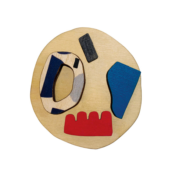 Abstract shapes statement brooch with shapes