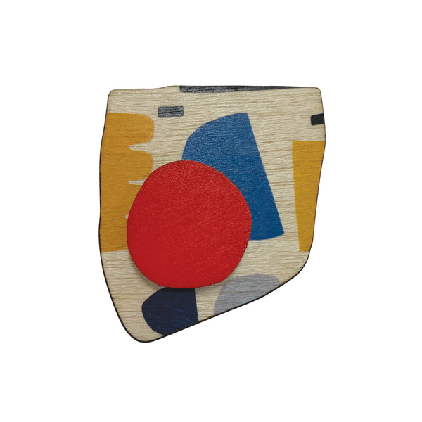 Abstract pattern wooden brooch with red spot