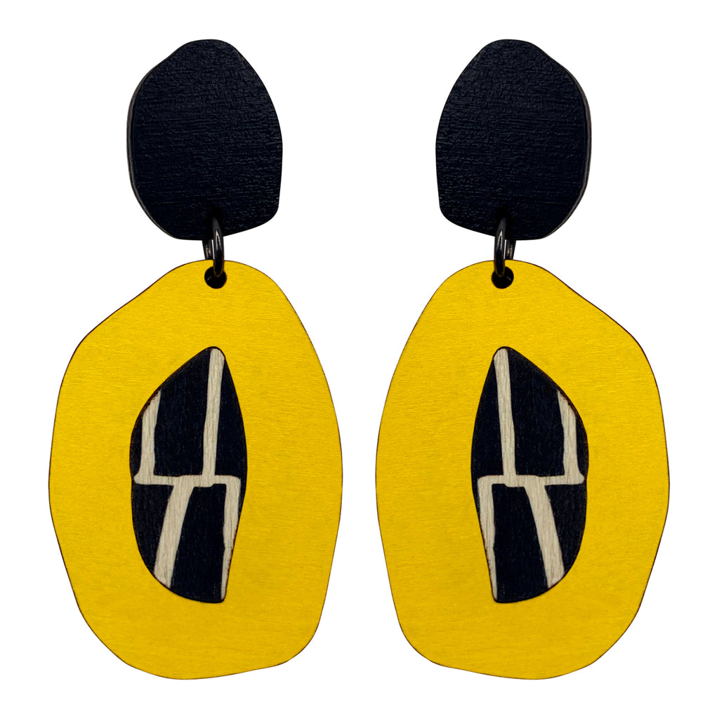 Double layered yellow and black statement earrings