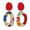 2 tiered red abstract wiggle statement earrings