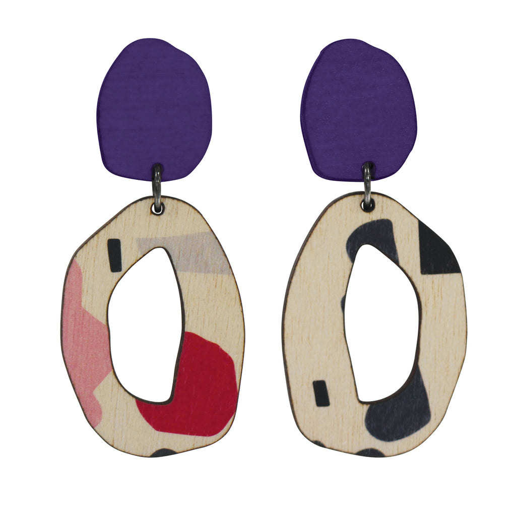 2 tiered Purple abstract wiggle statement earrings