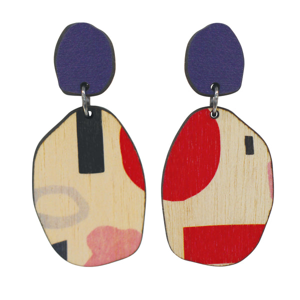 Contemporary wooden double tiered Purple abstract earrings