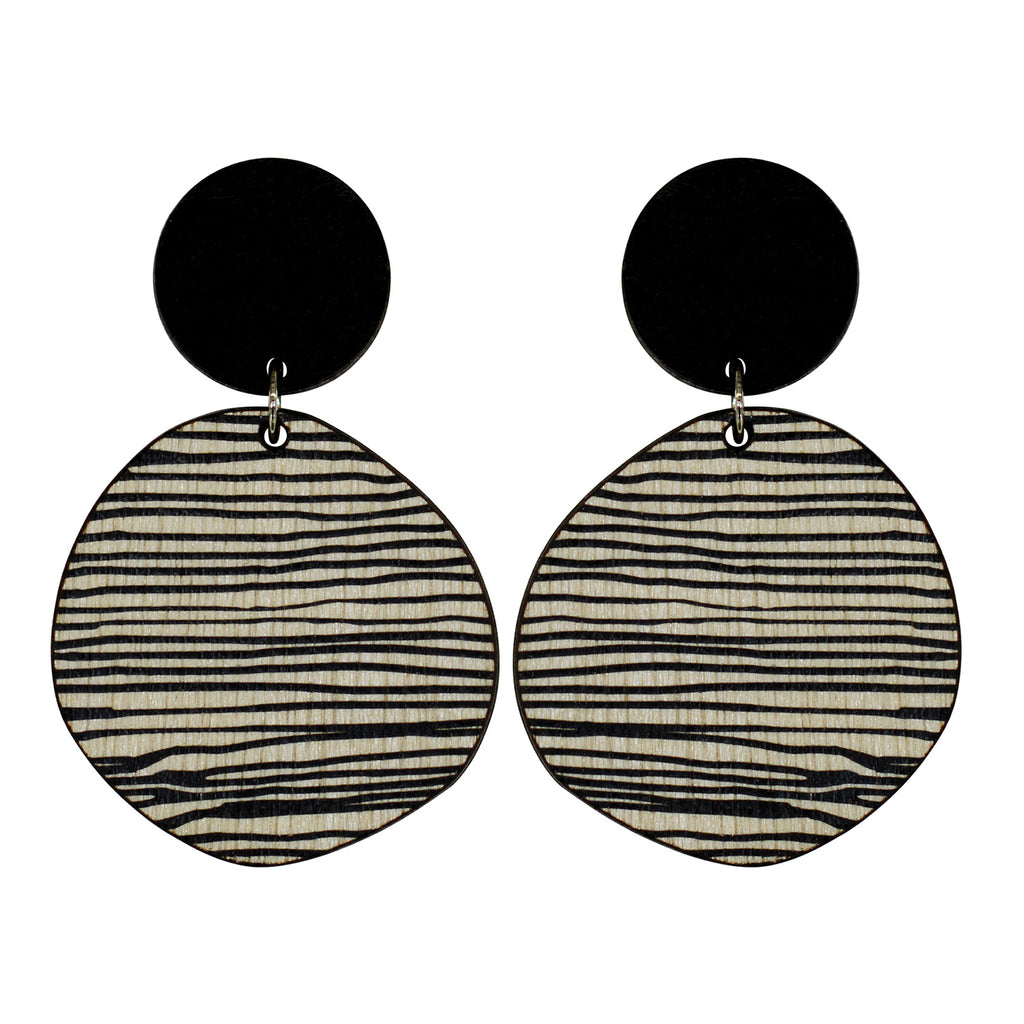 Retro earrings in black and thin lines