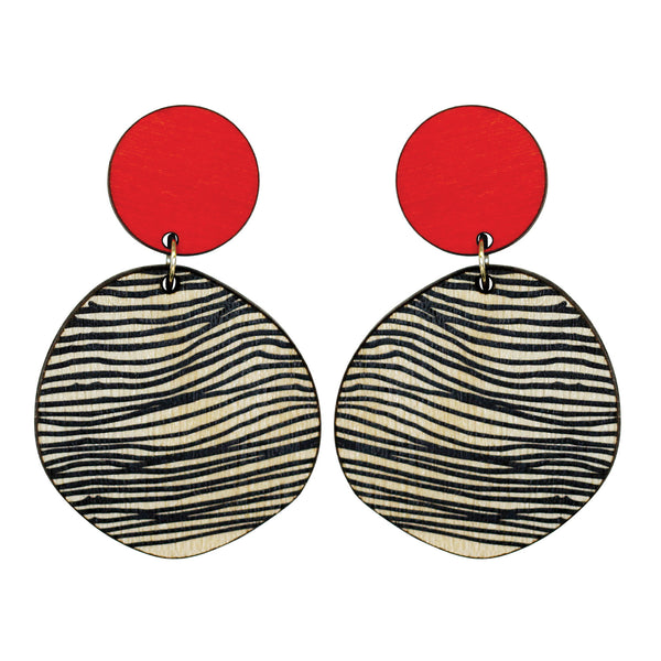Retro earrings in red with thin lines