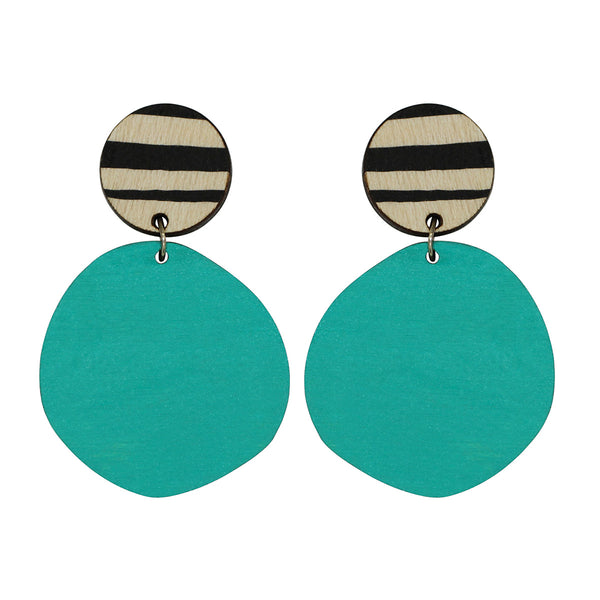 Retro earrings in aqua with thick lines