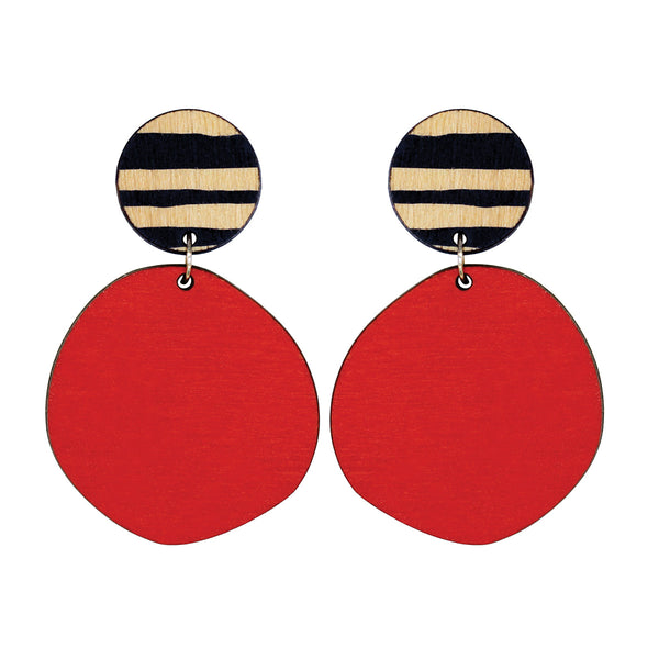Retro earrings in red with thick lines