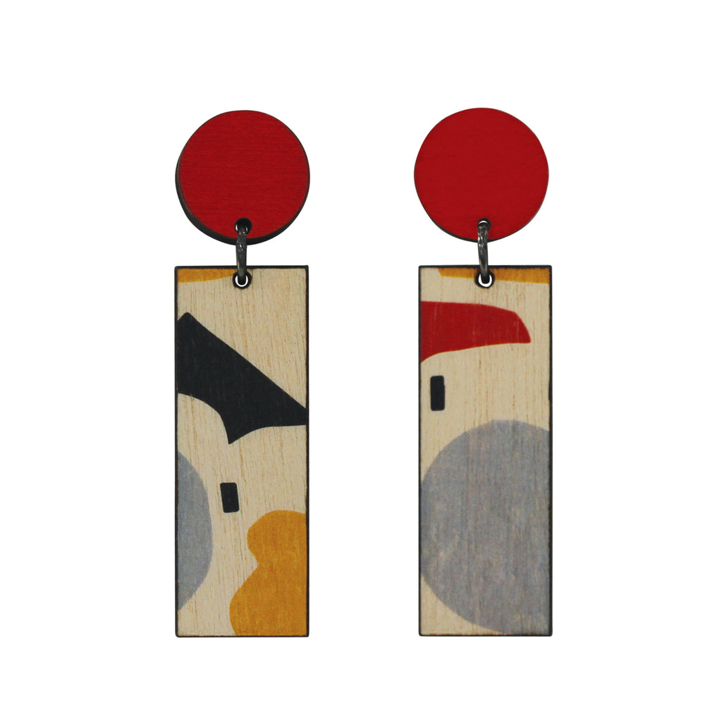 Red abstract line earrings