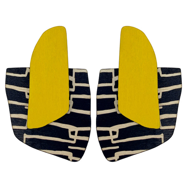 Yellow City pattern finger statement earrings