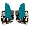 Teal and doodle pattern finger statement earrings