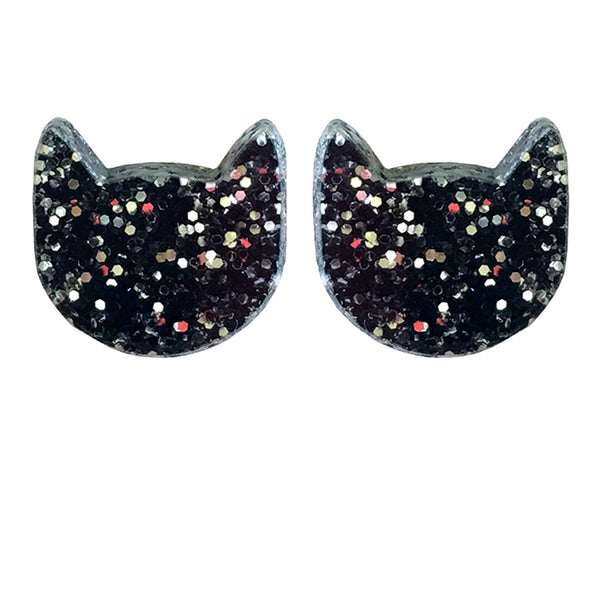 Black glitter cat stud earrings