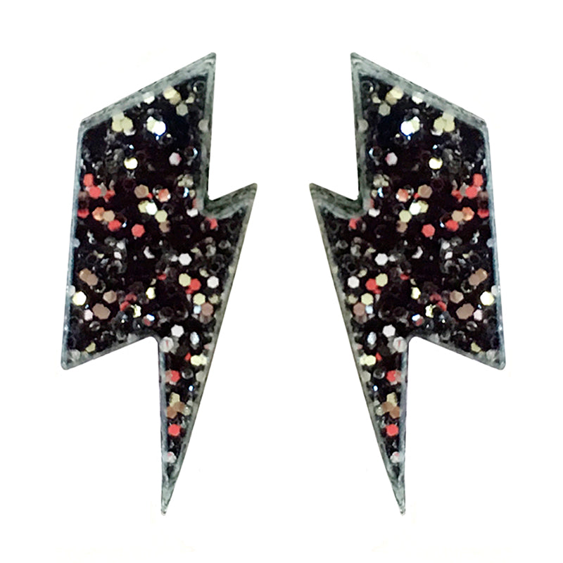 Black glitter lightning stud earrings