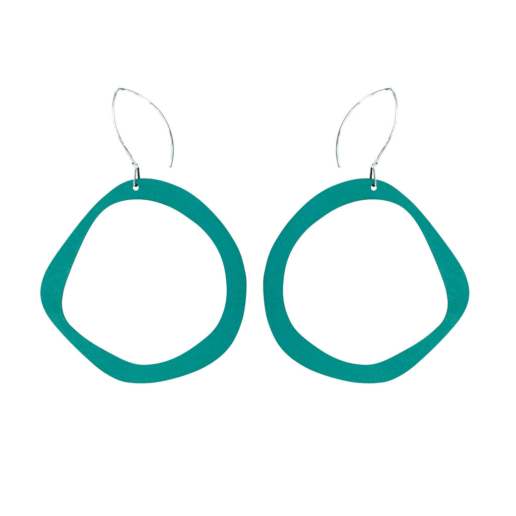 Retro hoop earrings in aqua