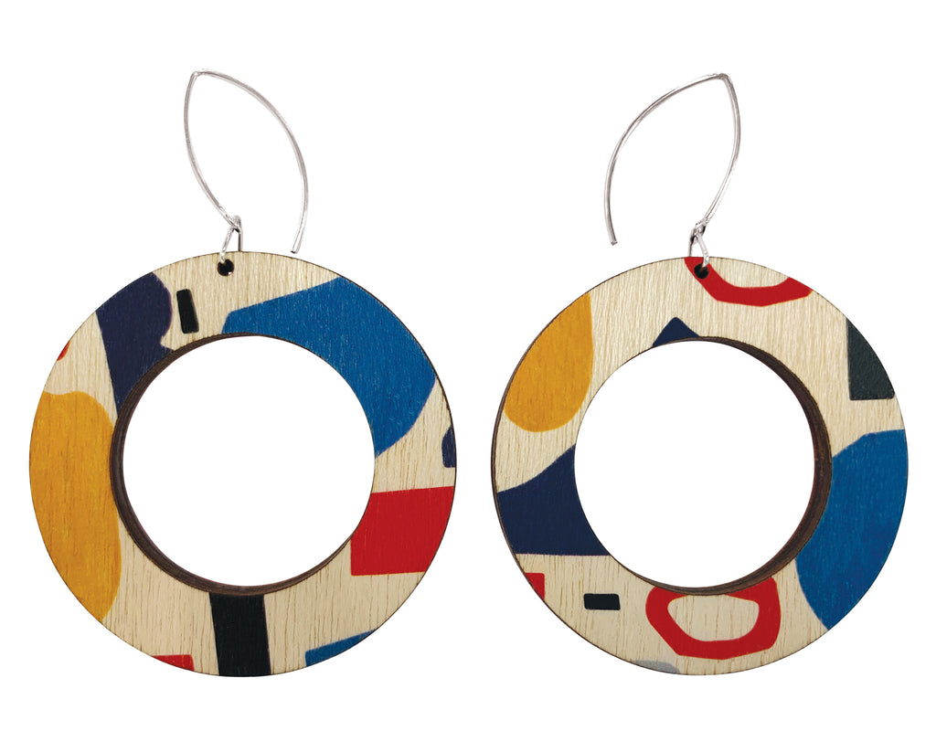 Abstract shapes hoop earrings