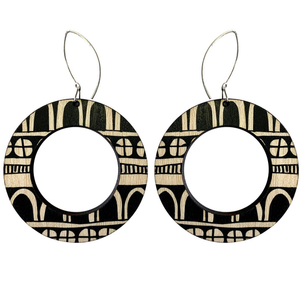 Doodle hoop wood earrings