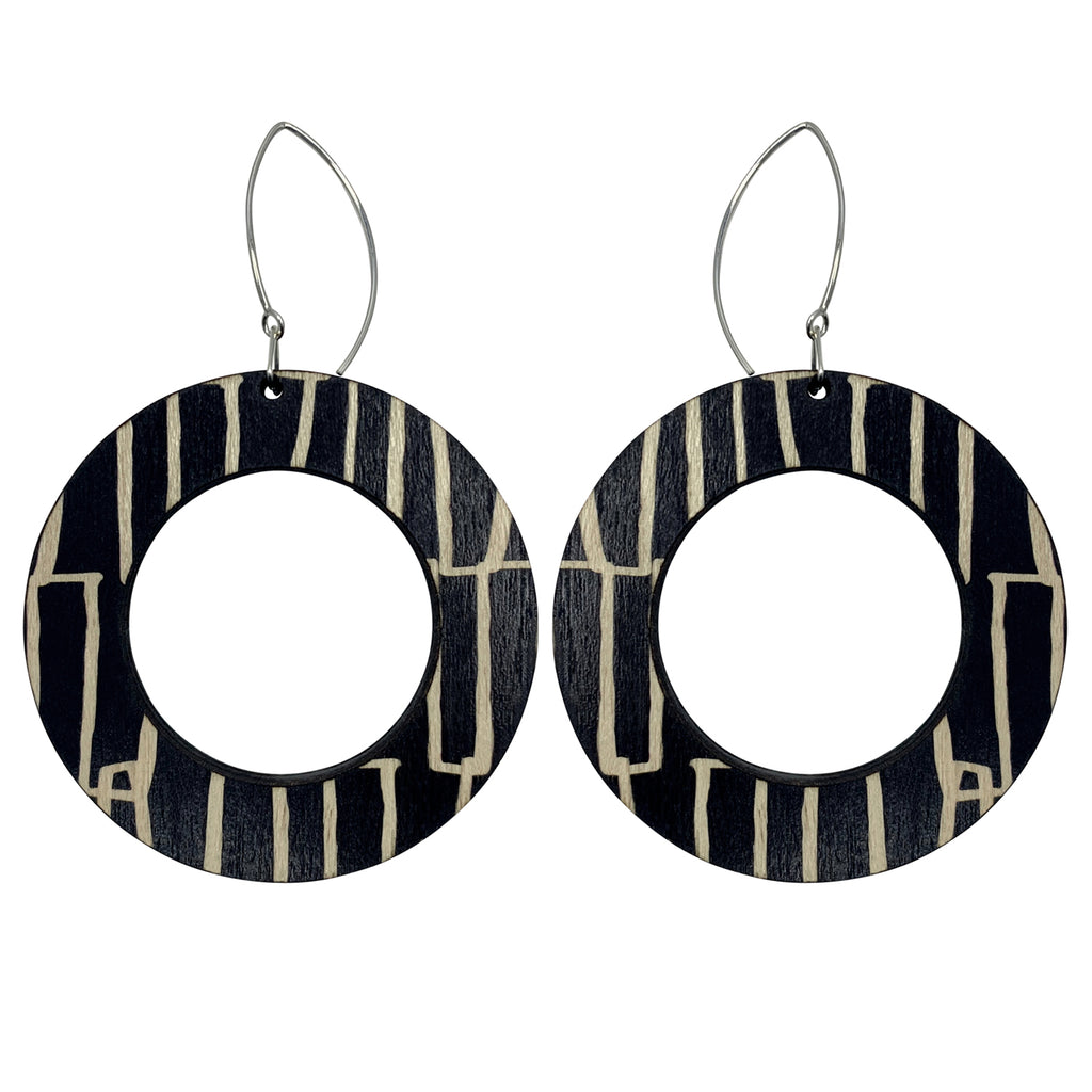City pattern hoop wooden earrings