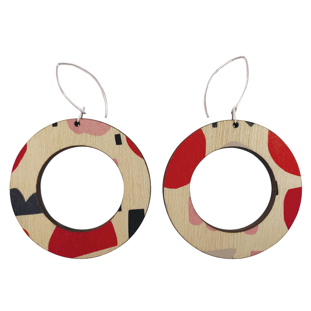 Abstract pattern in pink and red hoop wood earrings