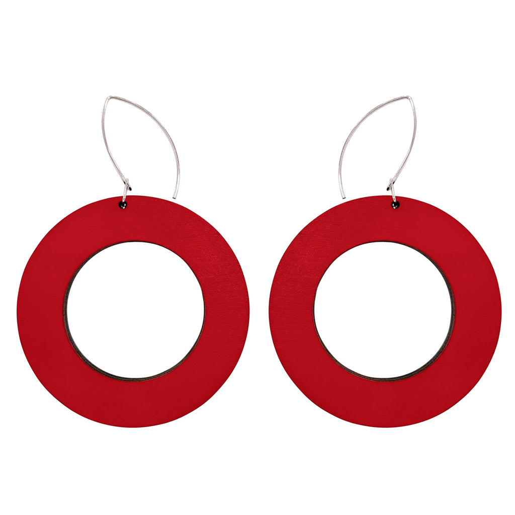 Red wooden hoop earrings
