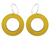 Yellow hoop statement earrings