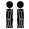 Black City pattern line wood earrings