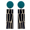 Teal City pattern line wood earrings