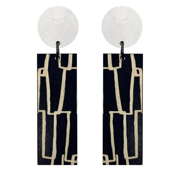 White City pattern line wood earrings
