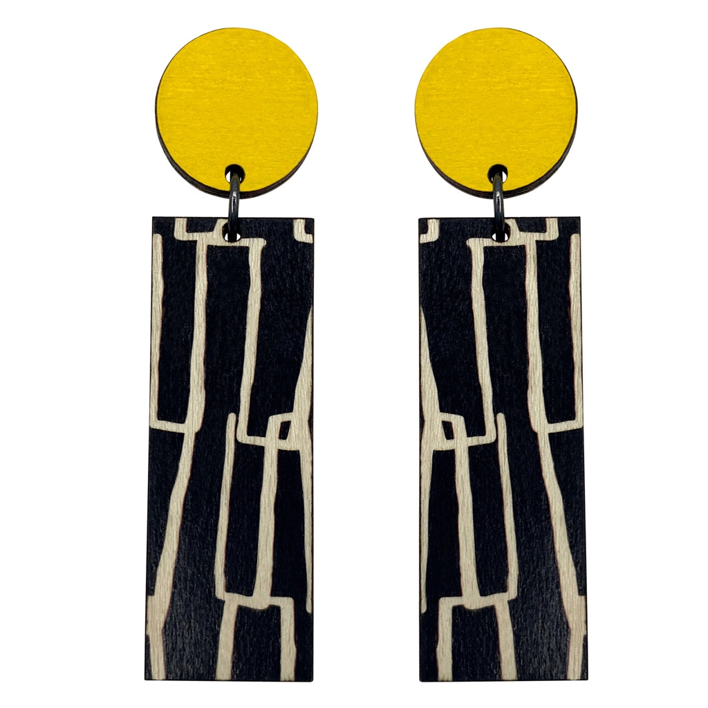 Yellow City pattern line wood earrings