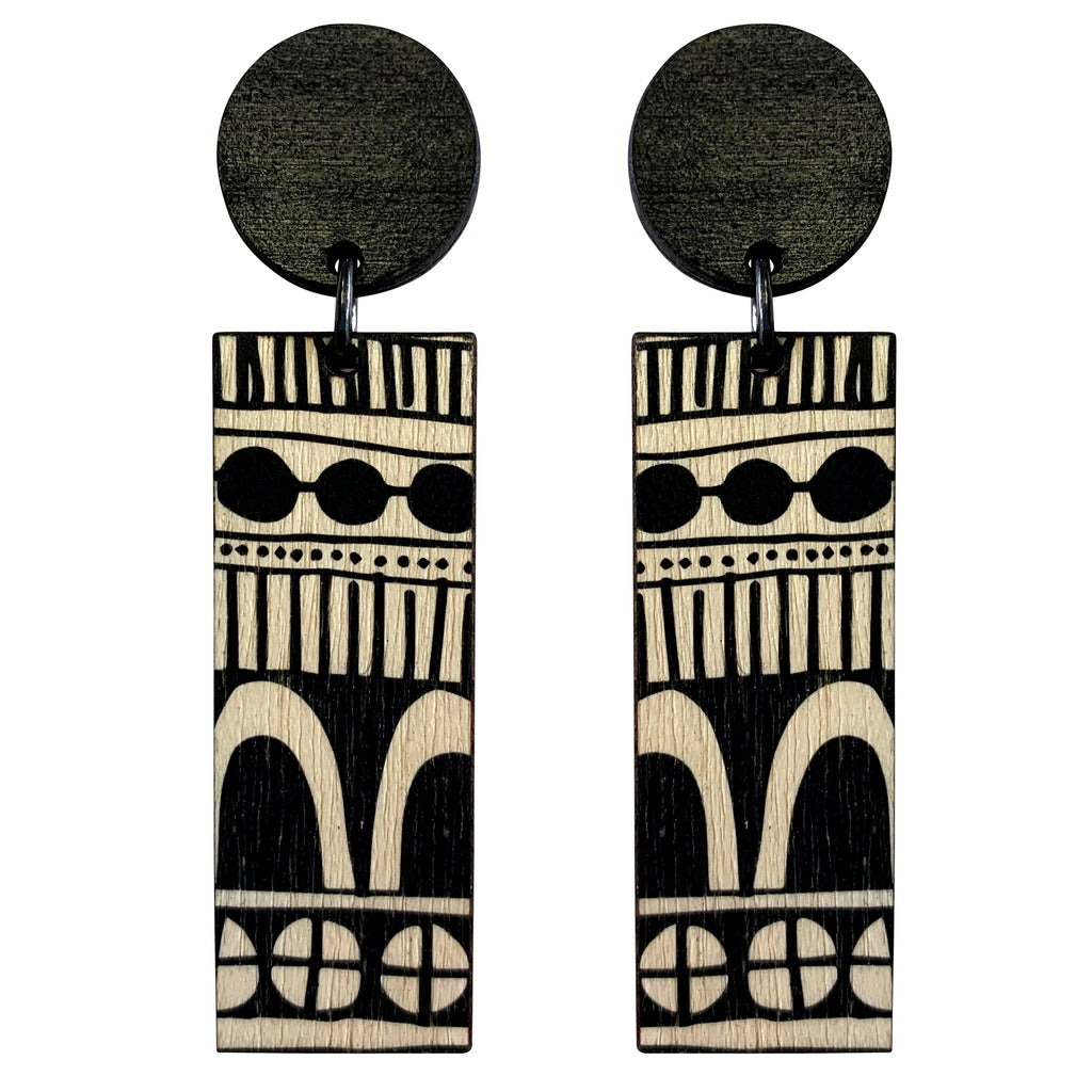 Black doodle statement line wood earrings