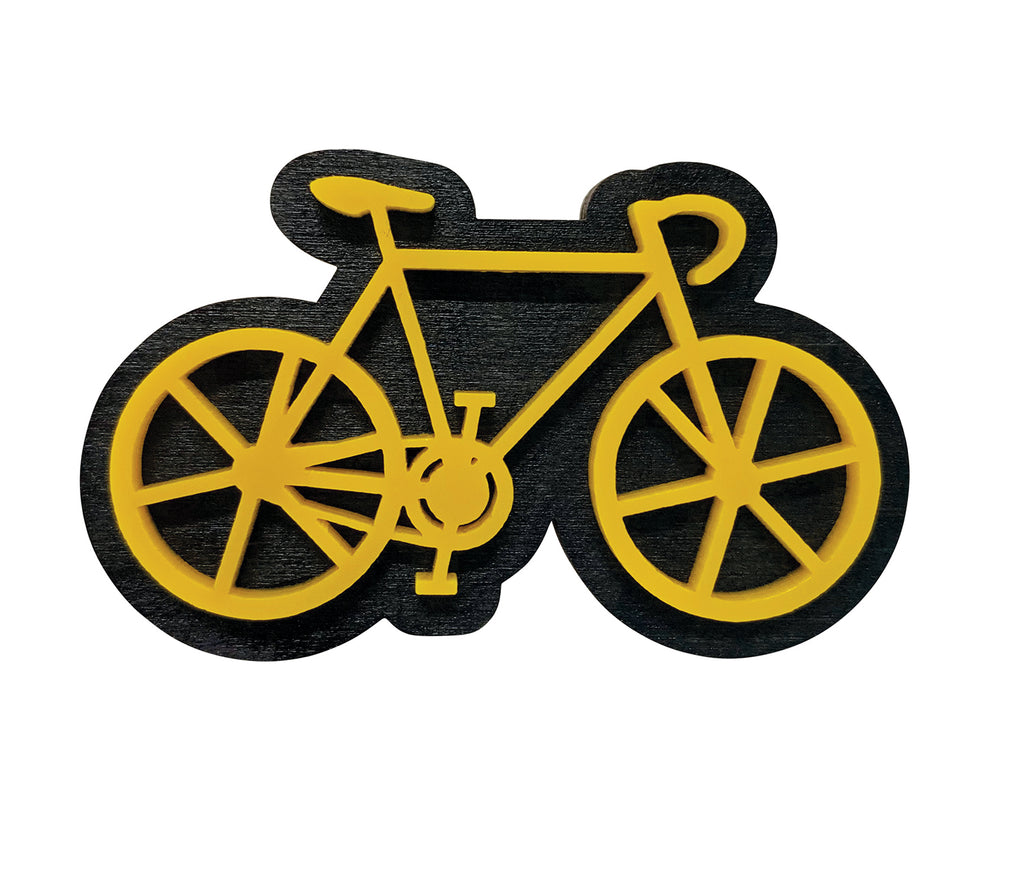 Yellow Bicycle laser cut Brooch