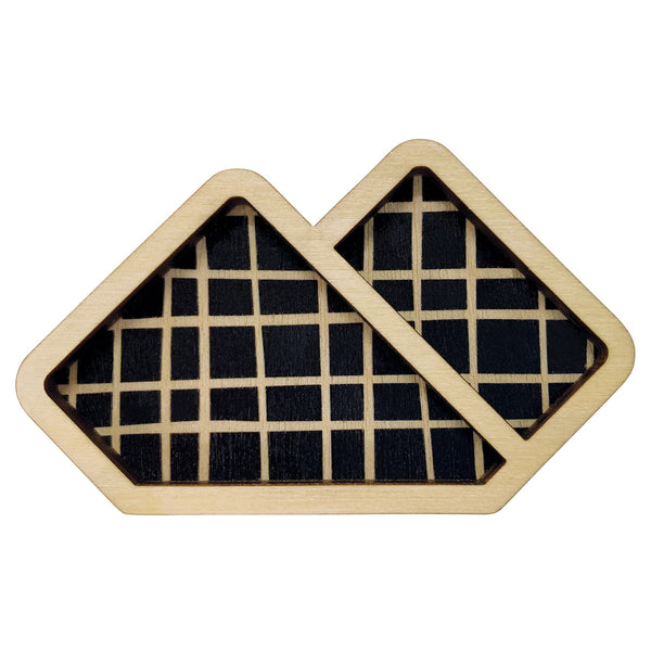 Lines on black Pocket Handkerchief wooden brooch