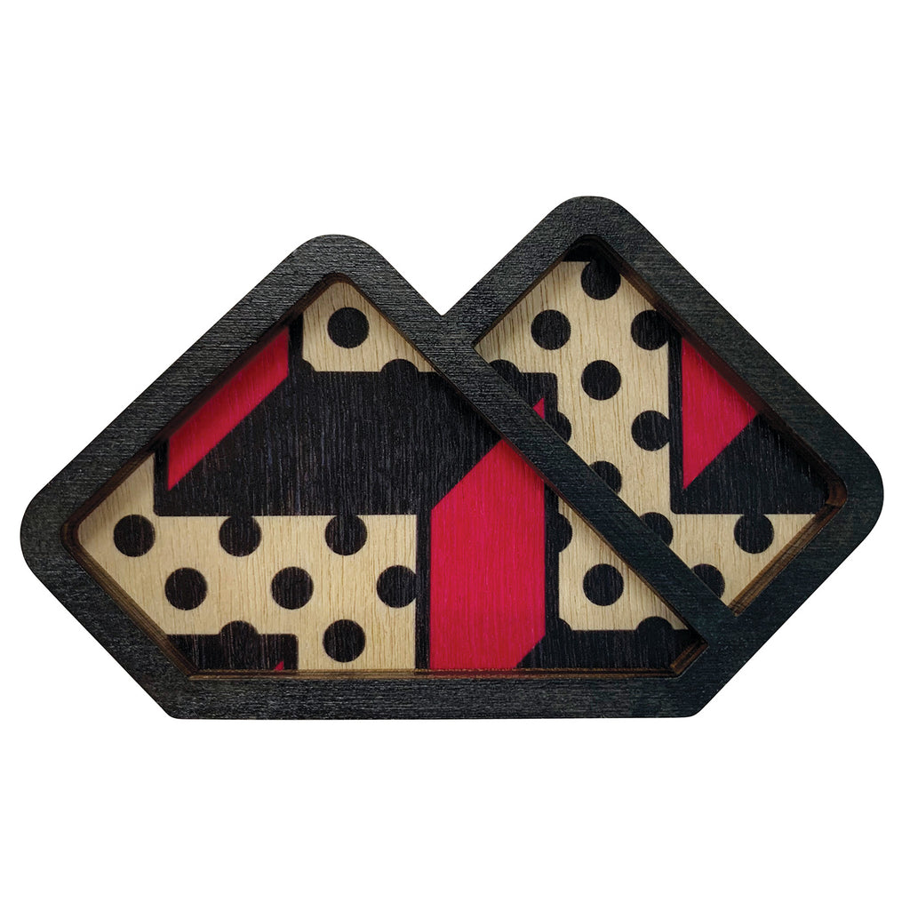 Memphis pattern Pocket Handkerchief wooden brooch