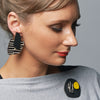 Black City pattern finger statement earrings