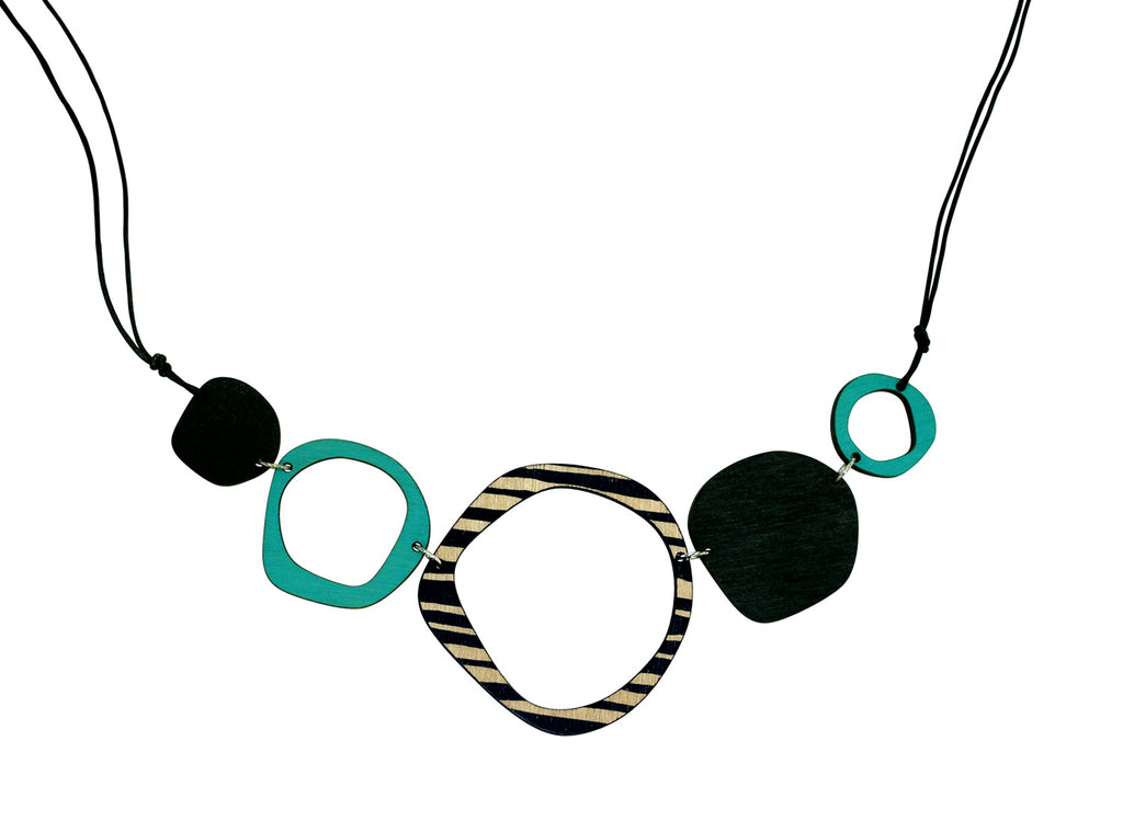 Retro 5 piece statement wooden necklace in aqua