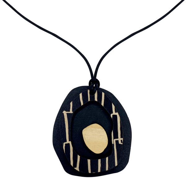 Black Pendant with city pattern
