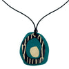 Teal Pendant with city pattern