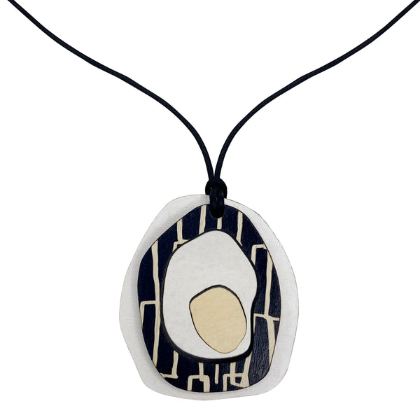White Pendant with city pattern