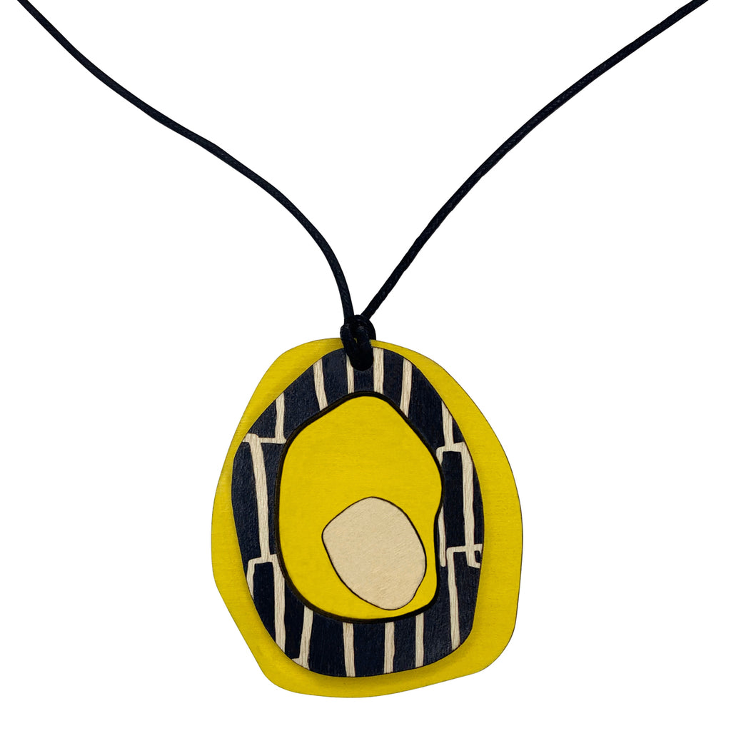 Yellow Pendant with city pattern