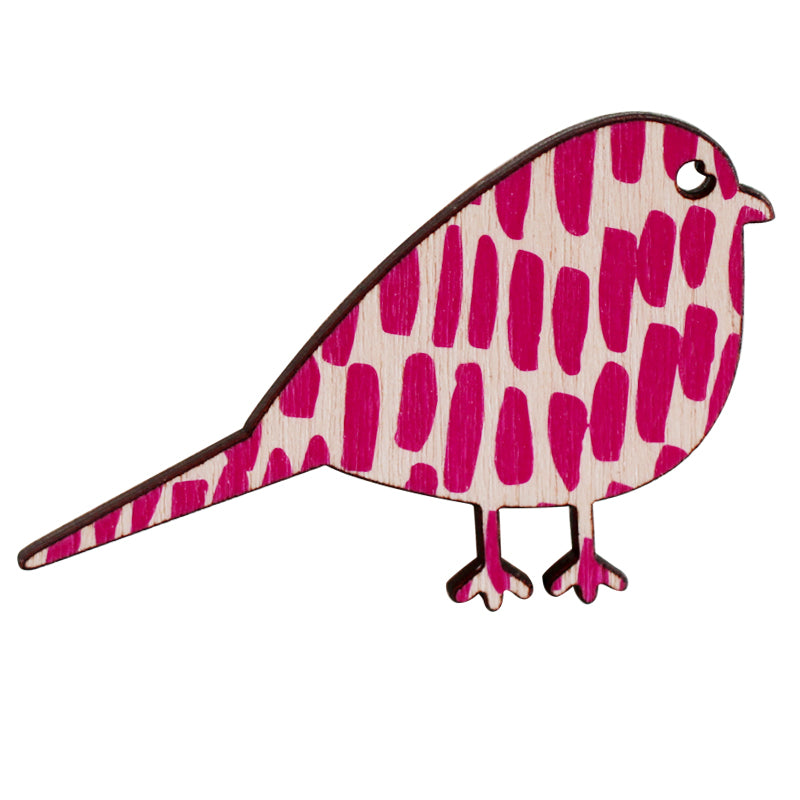 Pink lines bird brooch