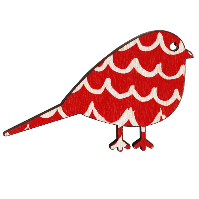 Red waves pattern bird wooden brooch