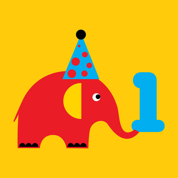 1 year old elephant Birthday card