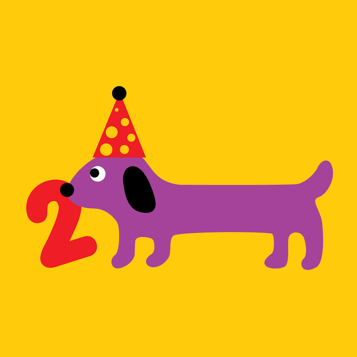 2 Years Old Sausage Dog Birthday Card