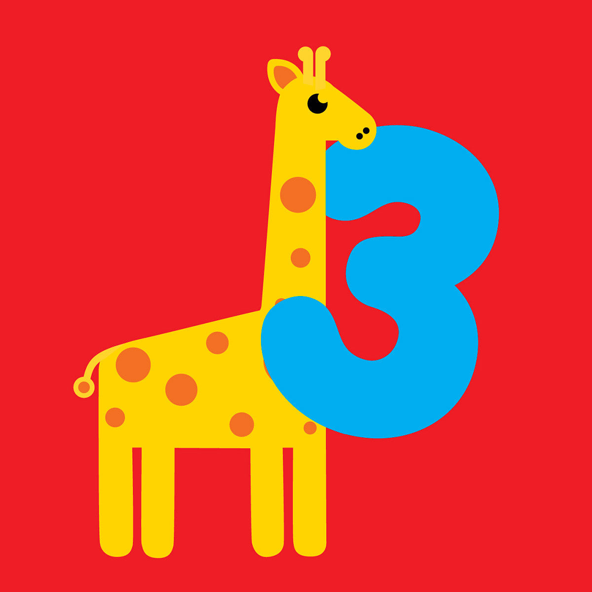 3 Years Old Giraffe Birthday Card