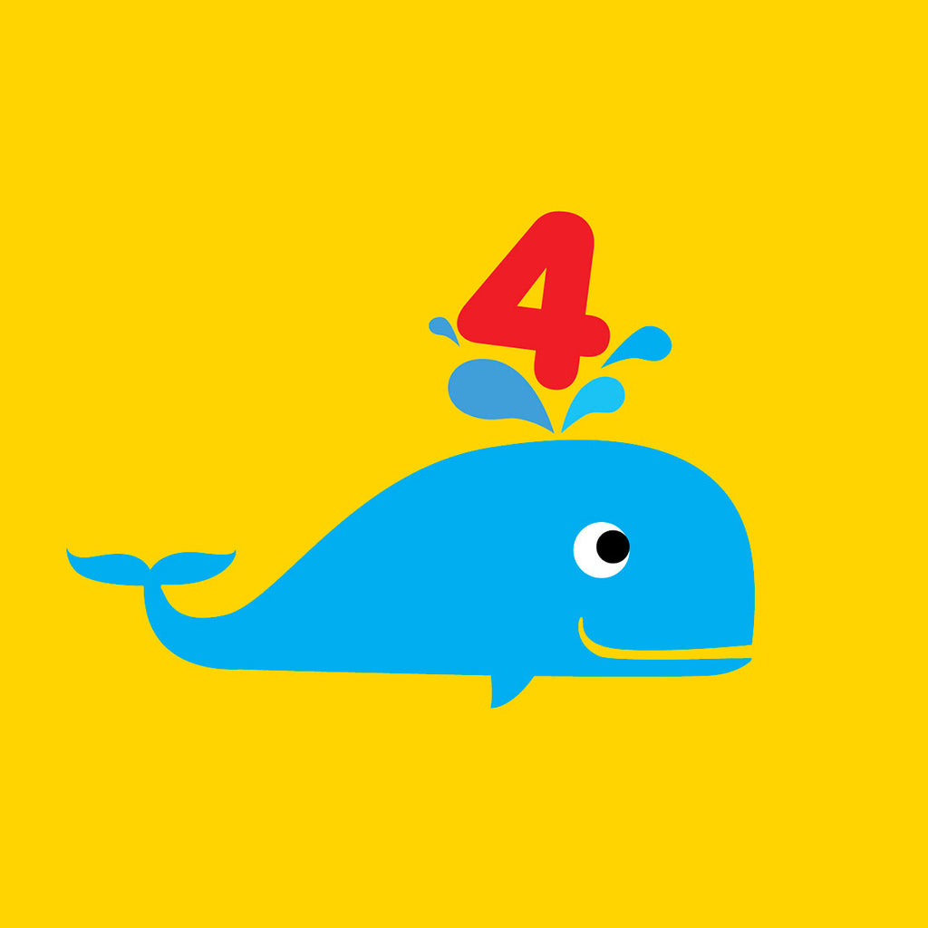 4 years old whale Birthday card