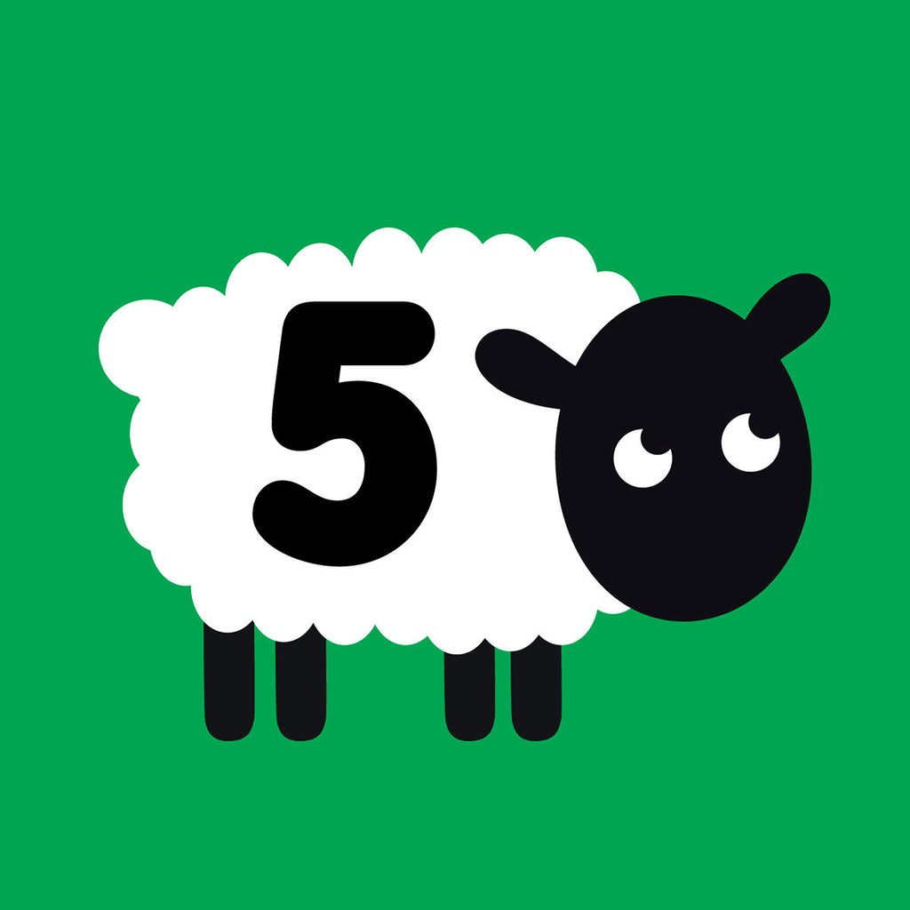 5 years old sheep Birthday card