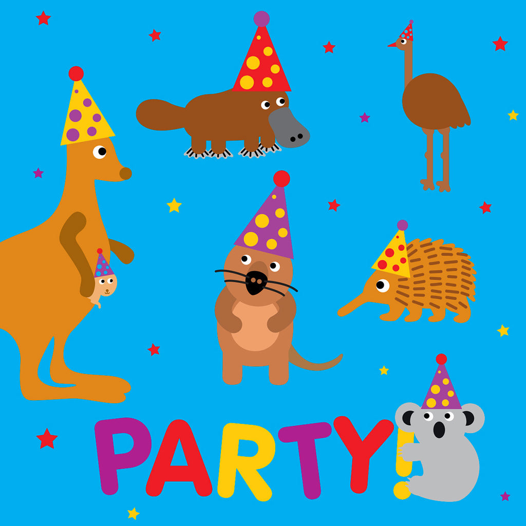 Australian animals party card